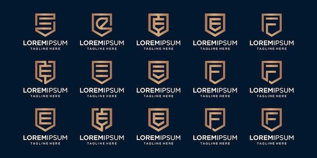Conjunto de monograma da letra ef e combinação de sinal de escudo.