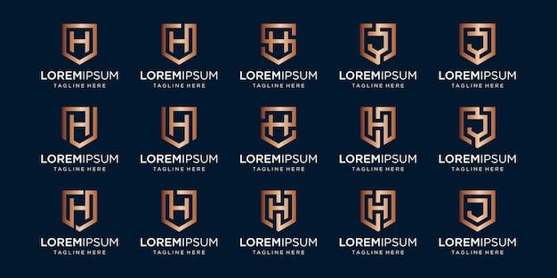 Conjunto de monograma da letra hj e combinação de sinal de escudo.