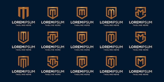 Conjunto de monograma da letra m e combinação de sinal de escudo.