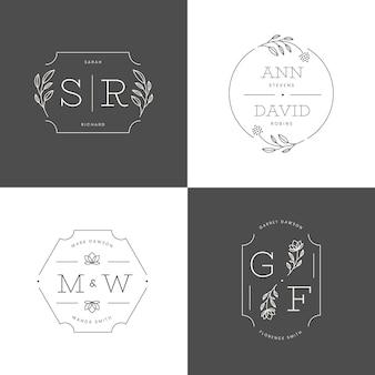 Conjunto de monograma de casamento de design plano