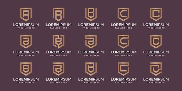 Conjunto de monograma de letra bc e combinação de sinal de escudo.