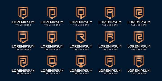Conjunto de monograma de letra prq e combinação de sinal de escudo.