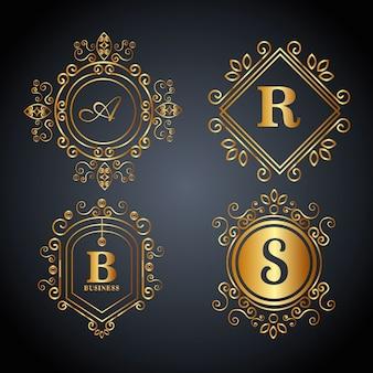 Conjunto de monograma dourado