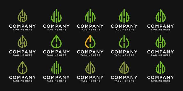 Conjunto de monograma letra h com design de logotipo de vetor de óleo e folhas para negócios