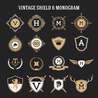 Conjunto de monograma vintage e elementos de escudo