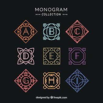 Conjunto de monogramas coloridos geométricos
