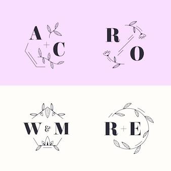 Conjunto de monogramas de casamento colorido em tons pastel