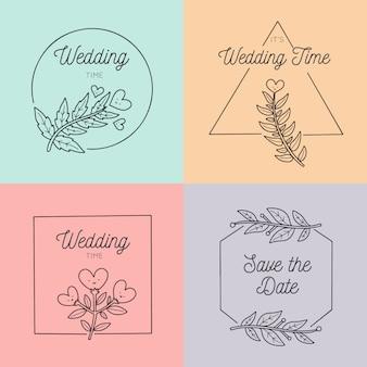 Conjunto de monogramas de casamento em tons pastel