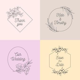 Conjunto de monogramas de casamento minimalista em tons pastel