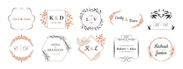 Conjunto de monogramas de casamento