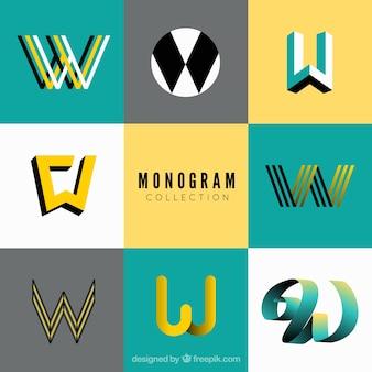 Conjunto de monogramas de estilo moderno