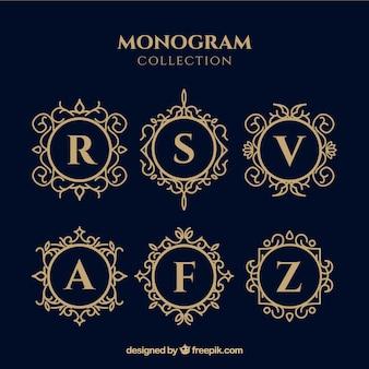 Conjunto de monogramas de ouro elegante