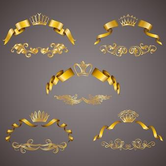Conjunto de monogramas de ouro vip para design gráfico