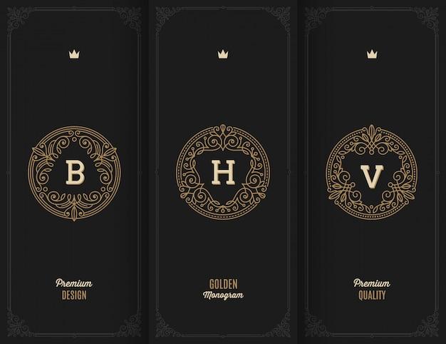 - conjunto de monogramas dourados de floreios.