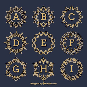 Conjunto de monogramas dourados do vintage