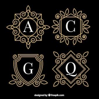 Conjunto de monogramas dourados elegantes