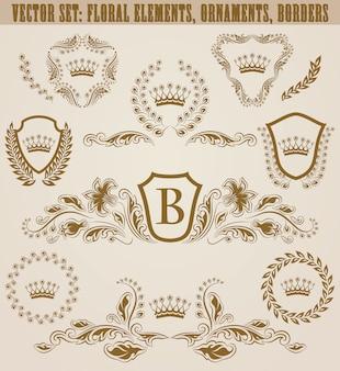 Conjunto de monogramas dourados