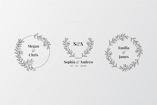 Conjunto de monogramas elegantes de casamento