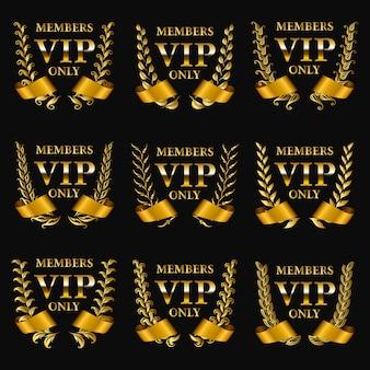 Conjunto de monogramas vip ouro para design gráfico em fundo preto.