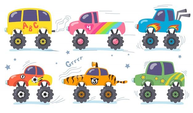 Conjunto de monster trucks de desenho animado
