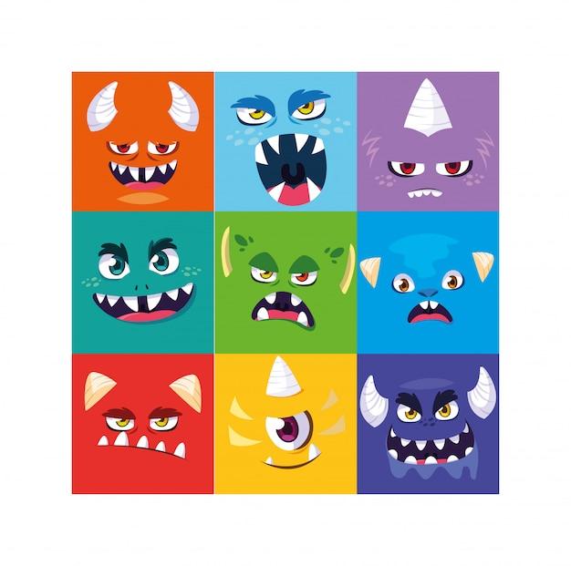 Conjunto de monstros alienígenas coloridos