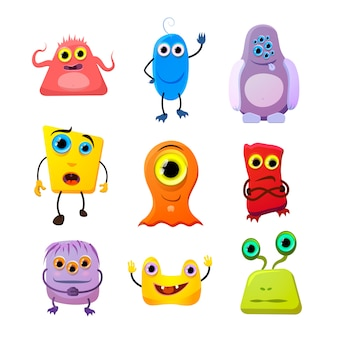 Conjunto de monstros bonitinho, personagens de desenhos animados em branco