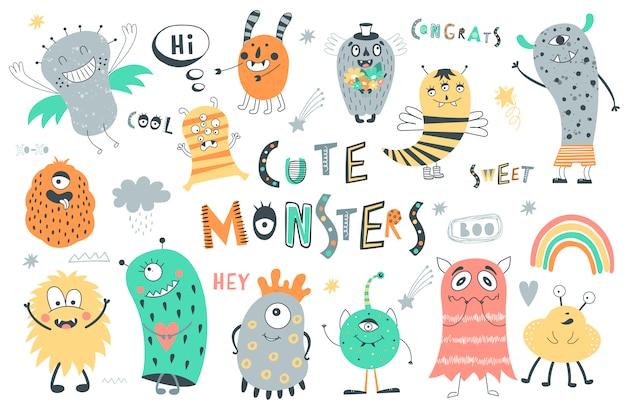 Conjunto de monstros bonitinho