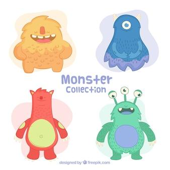 Conjunto de monstros coloridos em estilo desenhado a mão