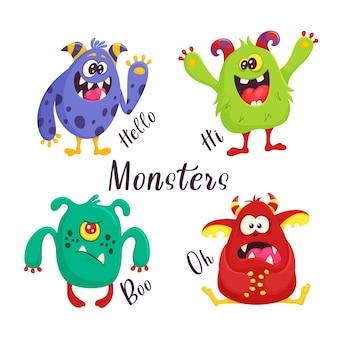 Conjunto de monstros de desenhos animados. impressão em roupas, pasudu, têxteis. ilustração eps10 do vetor. Vetor Premium