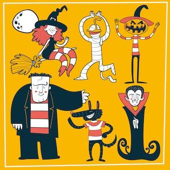 Conjunto de monstros de halloween doodle