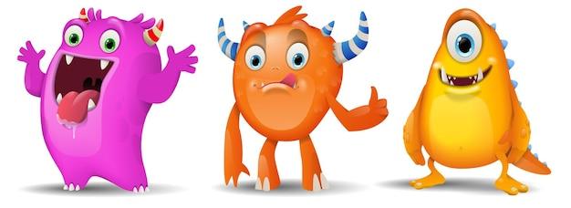Conjunto de monstros de personagens fofos de desenhos animados em rosa e laranja