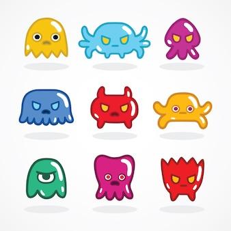Conjunto de monstros de videogames retros