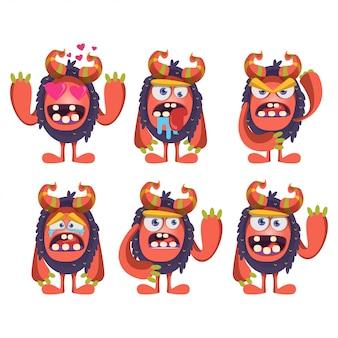 Conjunto de monstros dos desenhos animados para emblema ou adesivo