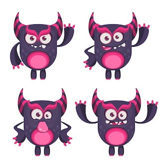 Conjunto de monstros dos desenhos animados