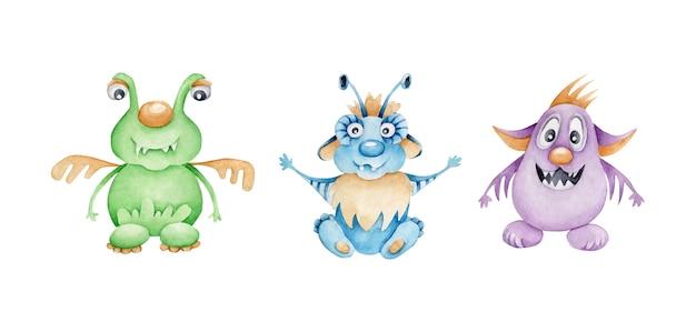 Conjunto de monstros em aquarela. estranhos. personagem de desenho animado