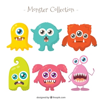 Conjunto de monstros engraçados em estilo plano