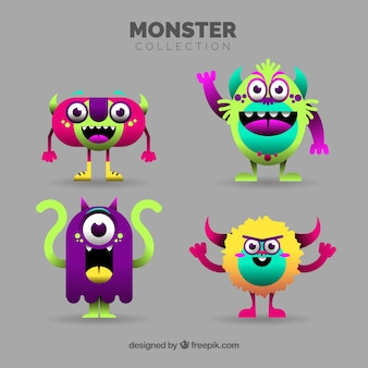 Conjunto de monstros engraçados em estilo simples