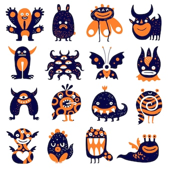 Conjunto de monstros engraçados