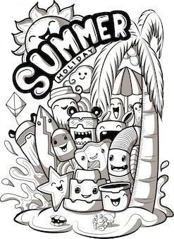 Conjunto de monstros fofos doodle com elementos de verão