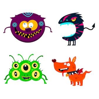Conjunto de monstros fofos