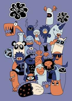 Conjunto de monstros legais engraçados, alienígenas ou animais de fantasia