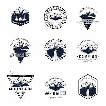 Conjunto de montanha de vetor e logotipo de aventuras ao ar livre