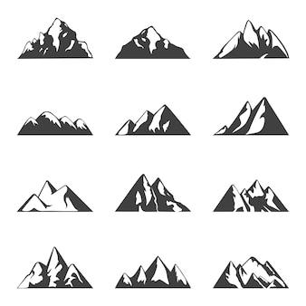 Conjunto de montanha de vetor. ícones preto e brancos simples ou modelos de design.