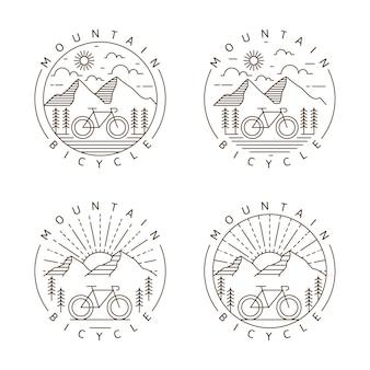 Conjunto de montanha e bicicleta monoline ou ilustração vetorial de estilo de arte de linha