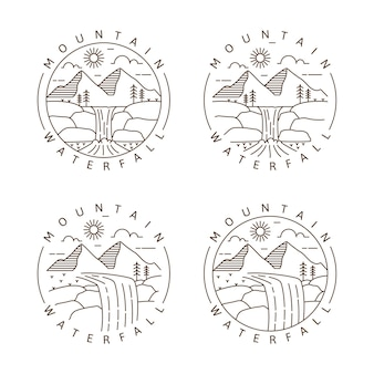 Conjunto de montanha e cachoeira monoline ao ar livre ou ilustração vetorial de estilo de arte de linha
