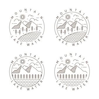 Conjunto de montanha e lago monoline ou ilustração vetorial de estilo de arte de linha