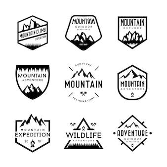 Conjunto de montanha e logotipo de aventuras ao ar livre. emblema do vintage e conjunto de design de logotipo