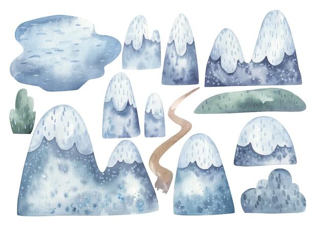 Conjunto de montanhas e colinas, lago, ilustração de personagem aquarela paisagem de ano novo