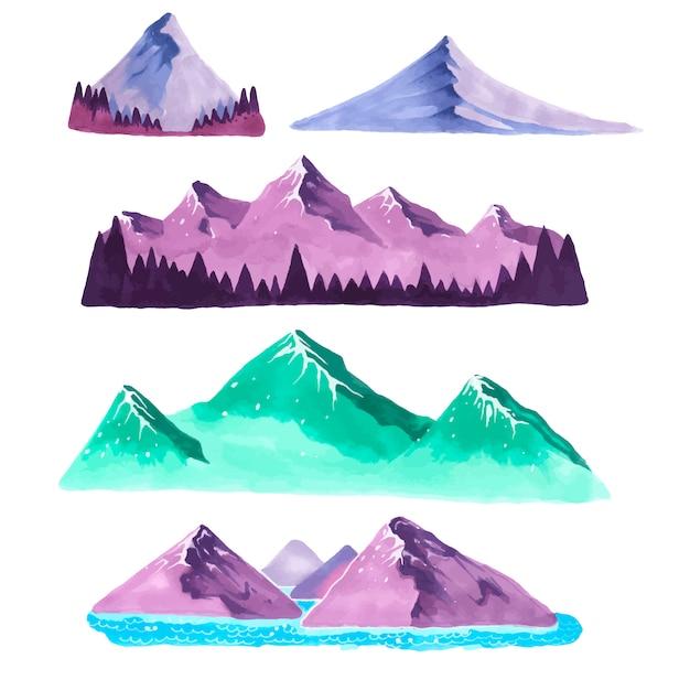 Conjunto de montanhas em estilo de desenho