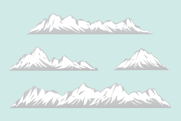 Conjunto de montanhas isoladas em várias formas. faixa de ilustração vetorial snowy mountain